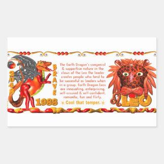 Valxart 1988 2048 EarthDragon zodiac Leo Rectangular Sticker