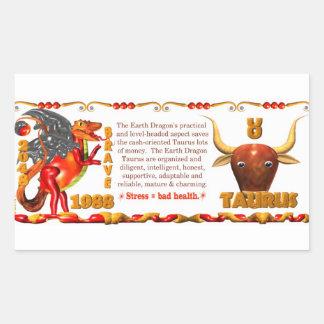 Valxart 1988 2048 EarthDragon zodiac Taurus Rectangular Sticker