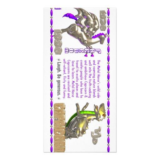 Valxart 1990 2050 MetalHorse zodiac Capricorn Photo Card Template