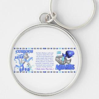 Valxart 1992 2052 WaterMonkey zodiac Aquarius Silver-Colored Round Key Ring