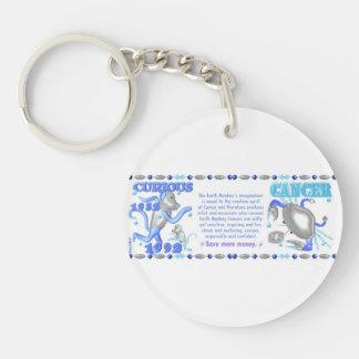 Valxart 1992 2052 WaterMonkey zodiac Cancer Double-Sided Round Acrylic Key Ring