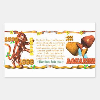 Valxart 1998 1938 2058 zodiac EarthTiger Aquarius Rectangular Stickers