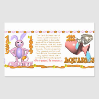 Valxart 1999 1939 2059 zodiac EarthRabbit Aquarius Rectangle Stickers