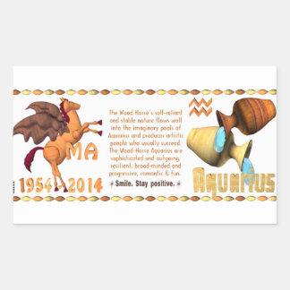 Valxart 2014 2074 1954 WoodHorse zodiac Aquarius Rectangular Sticker