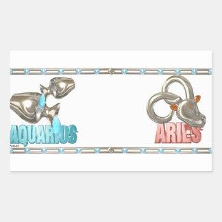 Valxart Aquarius Aries zodiac friendship Rectangular Sticker