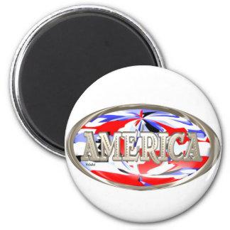 ValxArt celebrates America USA red,white and blue 6 Cm Round Magnet