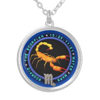 valxart.com Scorpio zodiac logo Silver Plated Necklace