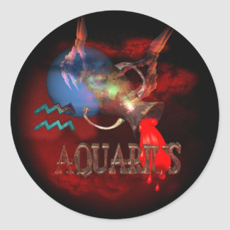 Valxart creepy zodiac born Aquarius Classic Round Sticker