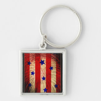 ValxArt fireworks flag abstract design Silver-Colored Square Key Ring