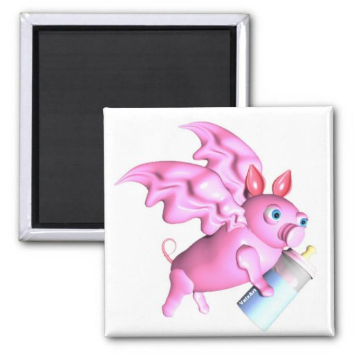 ValxArt flying pink pig with baby bottle Square Magnet