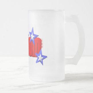 Valxart freedom shines with stars logo frosted glass mug