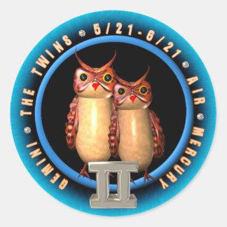 Valxart Gemini  zodiac Classic Round Sticker