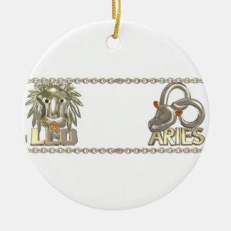 Valxart Leo Aries zodiac astrology friendship Christmas Ornament