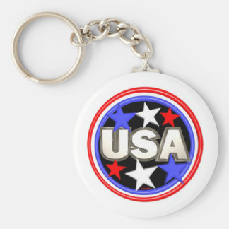 Valxart red , white and blue stars USA Basic Round Button Key Ring