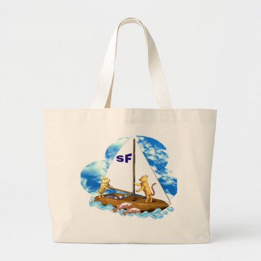 Valxart sails the bay of San Francisco with fishes Bags