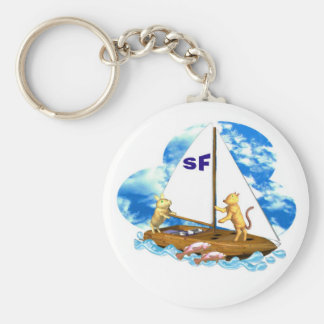 Valxart sails the bay of San Francisco with fishes Basic Round Button Key Ring
