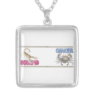 Valxart Scorpio Cancer zodiac friendship Silver Plated Necklace