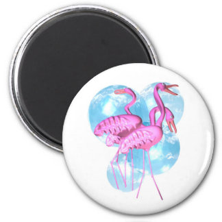 Valxart Three Pink flamingo stand in water 6 Cm Round Magnet