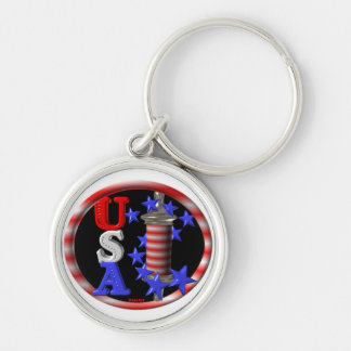Valxart USA BARBER POLE FLAG W.STARS Silver-Colored Round Key Ring