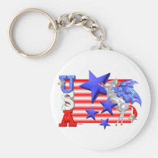 ValxArt USA FLYING HORSE Basic Round Button Key Ring