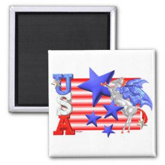 ValxArt USA FLYING HORSE Square Magnet