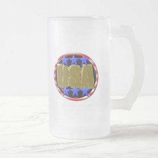 ValxArt USA GOLD on glass beer mug