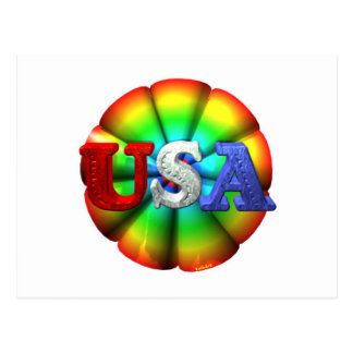 ValxArt USA red,white and blue Rainbow Postcard