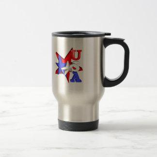 Valxart USA red white and blue stars design on Stainless Steel Travel Mug