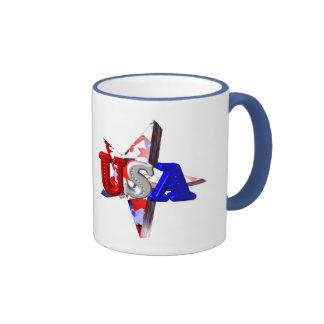 ValxArt USA start and stripes blue handle Ringer Mug