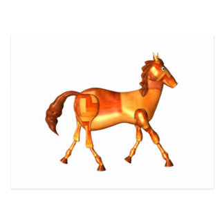 Valxart wood horse zodiac design postcard