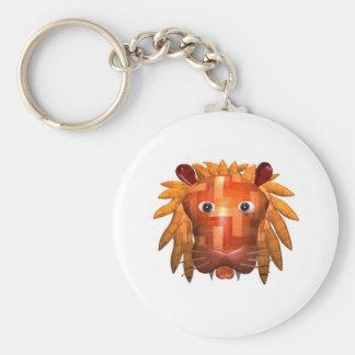 Valxart wood lion gifts basic round button key ring