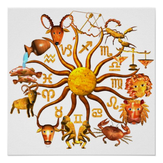 ValxArt wood zodiac wheel of life poster