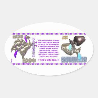ValxArt Zodiac Aquarius Metal Horse 1990 1930 Oval Sticker