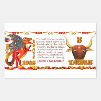 Valxart Zodiac Earth Dragon Aquarius born 1988 Rectangular Sticker