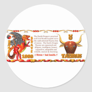 Valxart Zodiac Earth Dragon Aquarius born 1988 Round Sticker