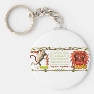 ValxArt Zodiac Earth Monkey Leo born 1968 2028 Basic Round Button Key Ring