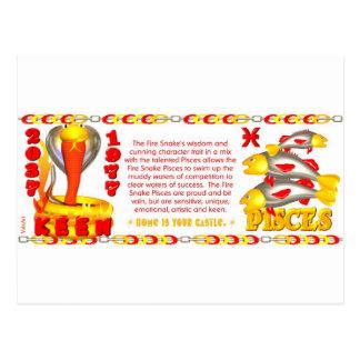 Valxart zodiac fire snake born Pisces Post Cards