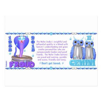 ValxArt Zodiac water snake born Gemini 1953 2013 Postcards