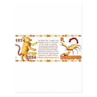 Valxart's 1974 Wood Tiger  zodiac born Scorpio Postcard