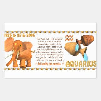 Valxart's 1985 zodiac wood bull born Aquarius Rectangular Sticker