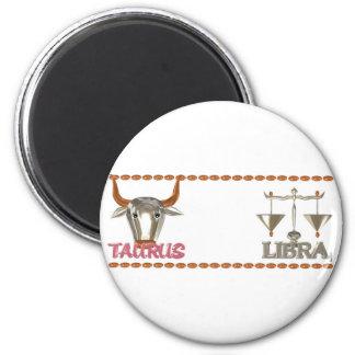 ValxArt's Taurus Libra zodiac friendship design 6 Cm Round Magnet