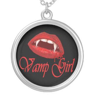 Vamp Girl Round Pendant Necklace