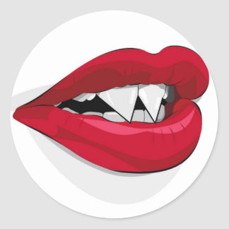 Vampira Mouth Round Sticker