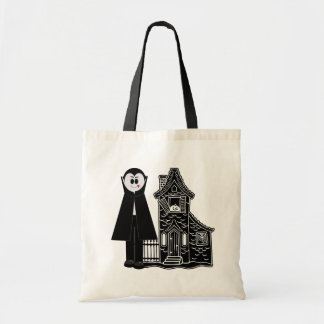 Vampire and Haunted House Tote Bag