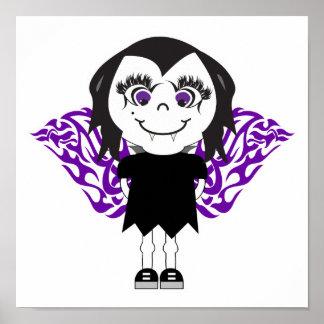 Vampire Angel Girl Tribal Wings Poster