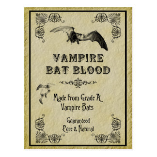 Vampire Bat Blood Halloween Recipe Card Postcard