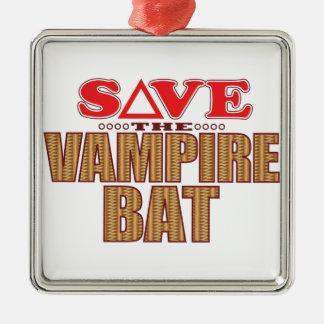 Vampire Bat Save Silver-Colored Square Decoration