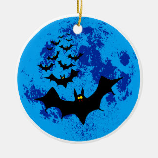 Vampire Bats Against The Blue Moon Christmas Ornament