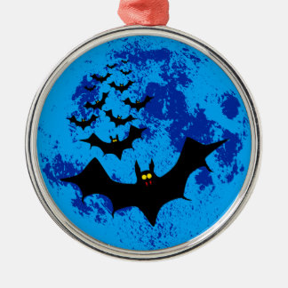 Vampire Bats Against The Blue Moon Silver-Colored Round Decoration
