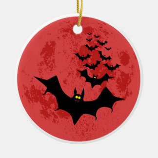 Vampire Bats Against The Red Moon Christmas Ornament
